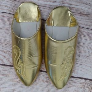 Morrocan flat leather slippers babouche gold 6.5